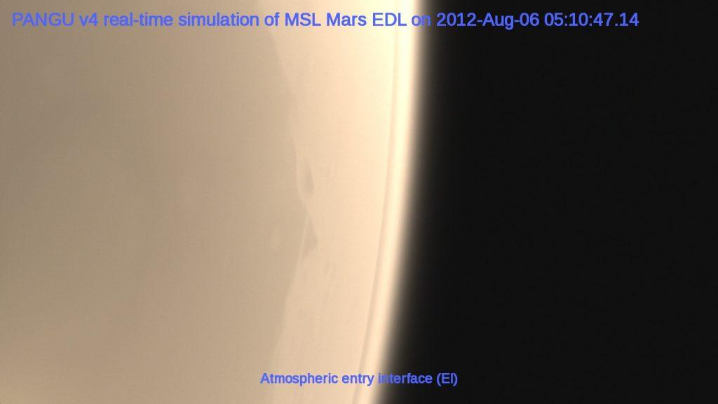 PANGU v4 real-time simulation of the MSL Mars EDL on 2012-Aug-06