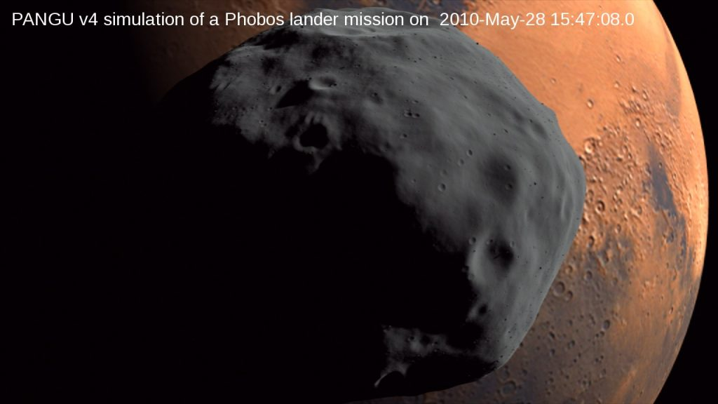 PANGU v4 simulation of a hypothetical Phobos lander mission on 2010-May-29