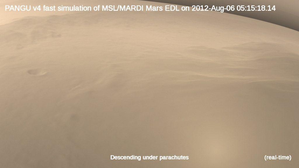 PANGU v4 fast simulation of the MSL/MARDI Mars EDL on 2012-Aug-06