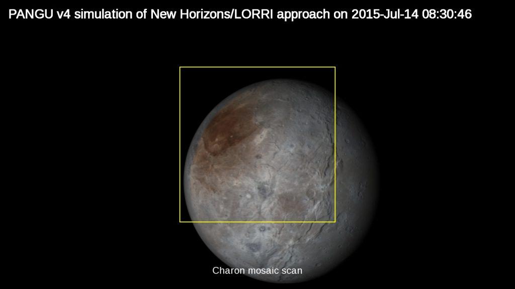 PANGU v4 simulation of New Horizons/LORRI on morning of Pluto flyby on 2015-Jul-14