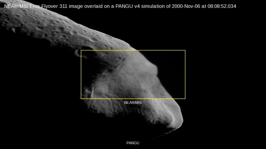 NEAR/MSI Eros Flyover 311 overlaid on a PANGU v4 simulation of 2000-Nov-06