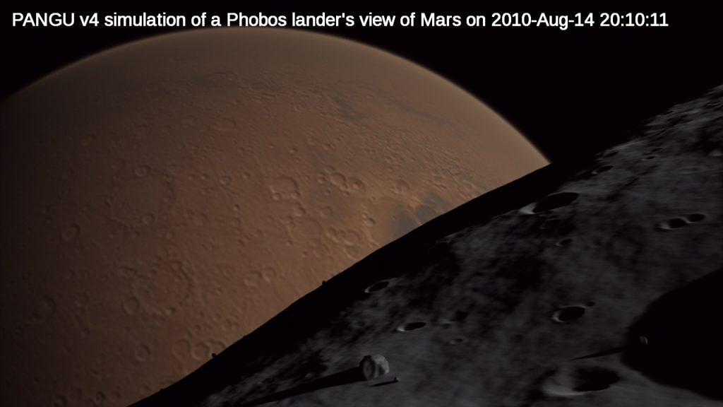 PANGU v4 simulation of a Phobos lander's view of Mars on 2010-Aug-14 20:10:11