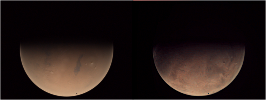 Side-by-side comparison of PANGU (left) and VMC (right) images of Mars